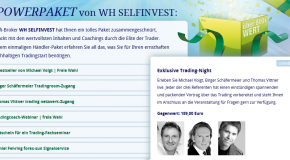 WH SelfInvest invites: Birger Schäfer Meier, Michael Voigt + Thomas Vittner LIVE. First dates on 11. and 25. More 2012