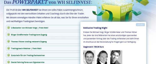 WH Selfinvest lädt ein: Birger Schäfermeier, Michael Voigt + Thomas Vittner LIVE. Erste Termine am 11. und 25. Mai 2012