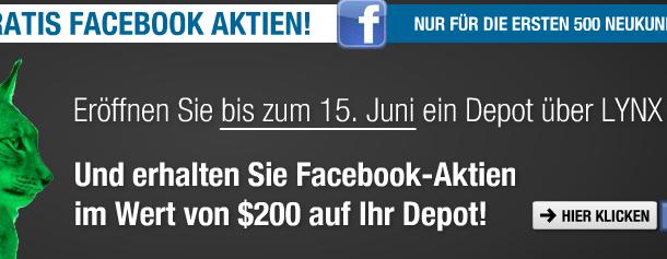 Facebook-Aktien für die ersten 500 LYNX Neukunden bis 15.06