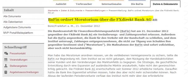 Vor dem Aus: Online Broker FXdirekt laut Bafin insolvent und ab sofort gesperrt