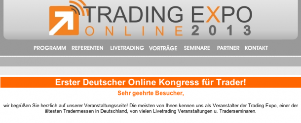 Trading Expo 2013 erstmalig als online Messe