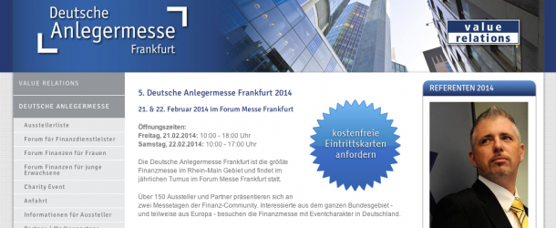 5. Deutsche Anlegermesse Frankfurt 2014 – 21. & 22. Februar 2014