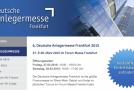 """6. Deutsche Anlegermesse """"DAM"""" im Forum der Messe Frankfurt am 27. & 28. März 2015"""
